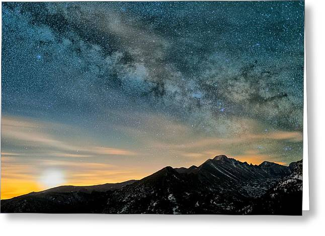 Milky Way Moon Over Glacier Gorge Greeting Card by Mike Berenson