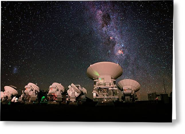 Milky Way Over Alma Telescopes Greeting Card by Babak Tafreshi