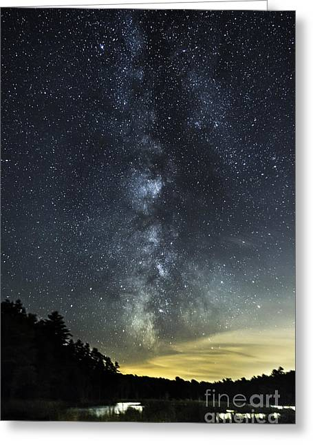Milky Way Over Beaver Pond In Phippsburg Maine 2 Greeting Card