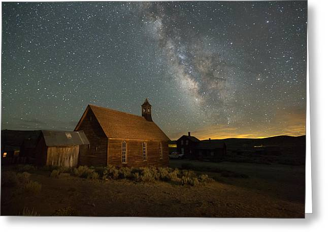 Milky Way Over Bodie Church Greeting Card