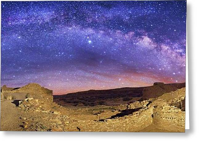 Milky Way Over Chaco Canyon Ruins Greeting Card by Walter Pacholka, Astropics