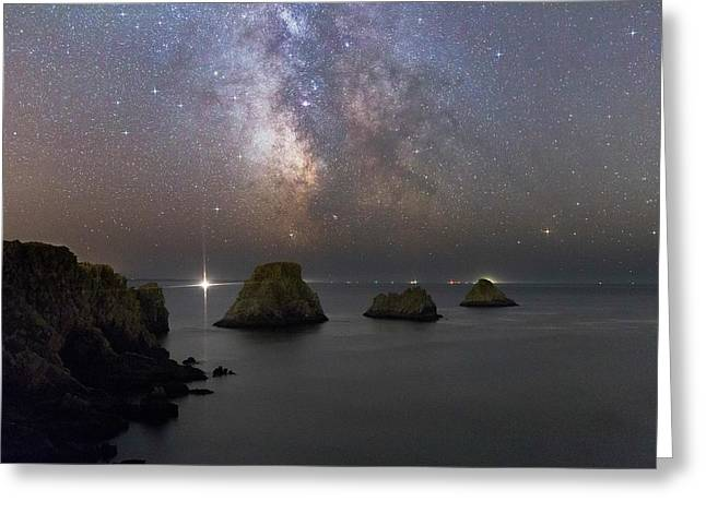 Milky Way Over Coastal Rocks Greeting Card by Laurent Laveder