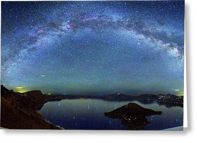 Milky Way Over Crater Lake Greeting Card