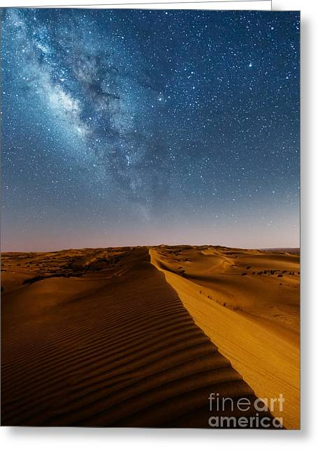 Milky Way Over Desert Dunes Greeting Card by Matteo Colombo