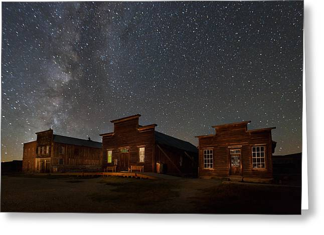 Milky Way Over Downtown Bodie Greeting Card