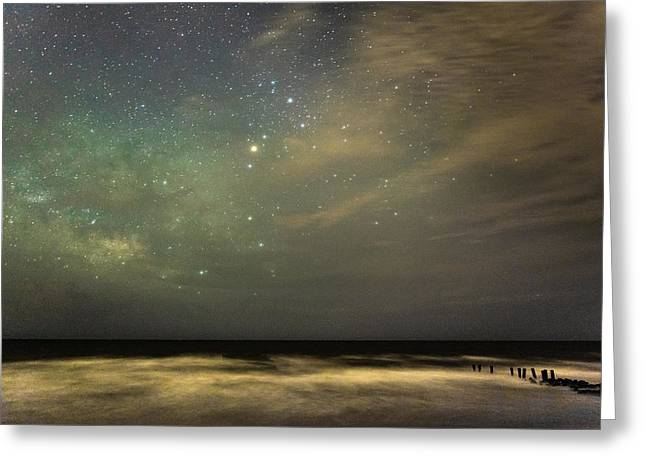 Milky Way Over Folly Beach Greeting Card