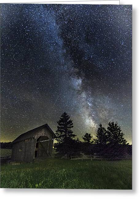Milky Way Over Foster Covered Bridge Greeting Card