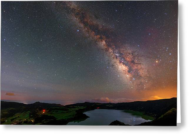 Milky Way Over Lagoa Das Furnas Greeting Card
