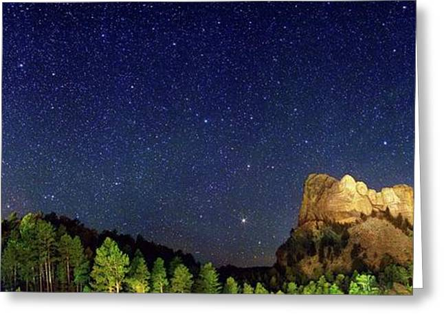 Milky Way Over Mount Rushmore Greeting Card by Walter Pacholka, Astropics