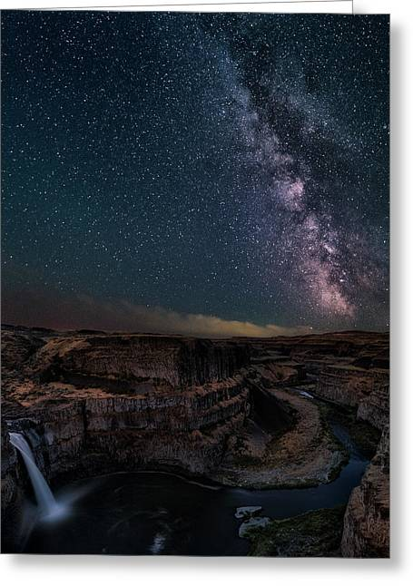 Milky Way Over Palouse Falls Greeting Card
