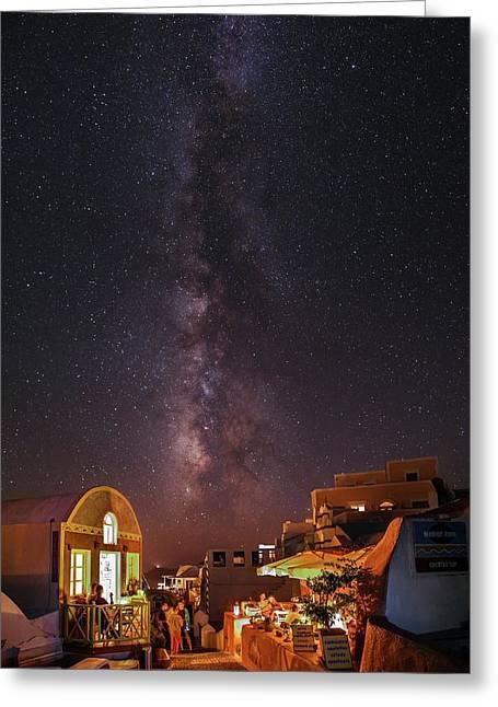 Milky Way Over Santorini Island Greeting Card by Babak Tafreshi