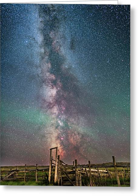 Milky Way Over The 76 Ranch Corral Greeting Card by Alan Dyer
