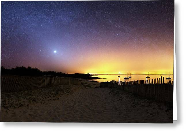 Milky Way Over The Coast Greeting Card