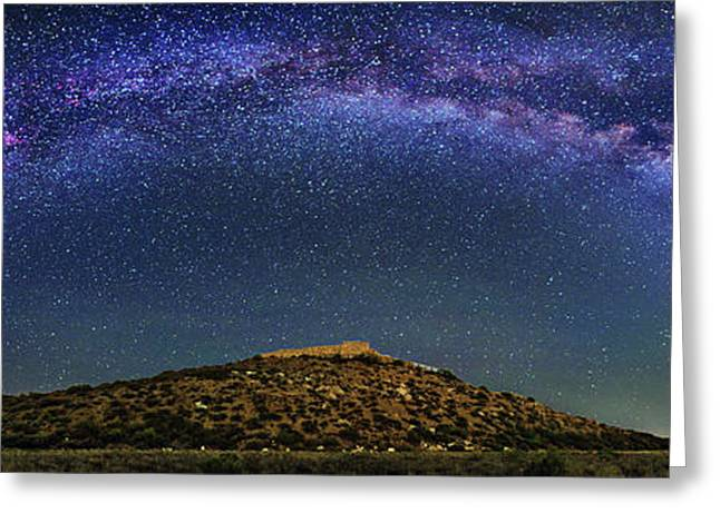 Milky Way Over Tuzigoot Ruins Greeting Card by Walter Pacholka, Astropics