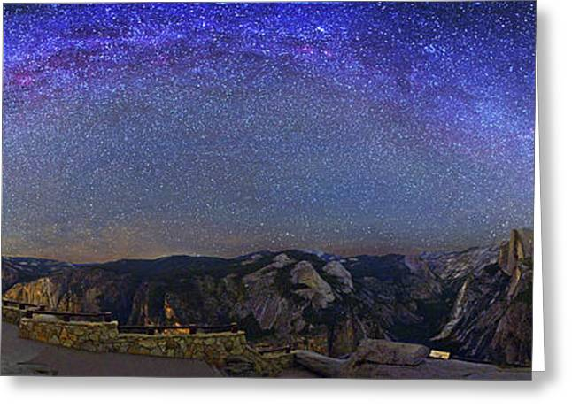 Milky Way Over Yosemite Valley Greeting Card by Walter Pacholka, Astropics