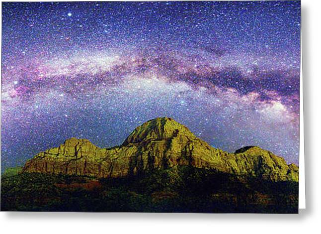 Milky Way Over Zion National Park Greeting Card by Walter Pacholka, Astropics