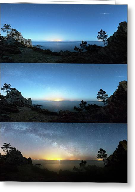 Milky Way Rising Over A Coastline Greeting Card by Laurent Laveder