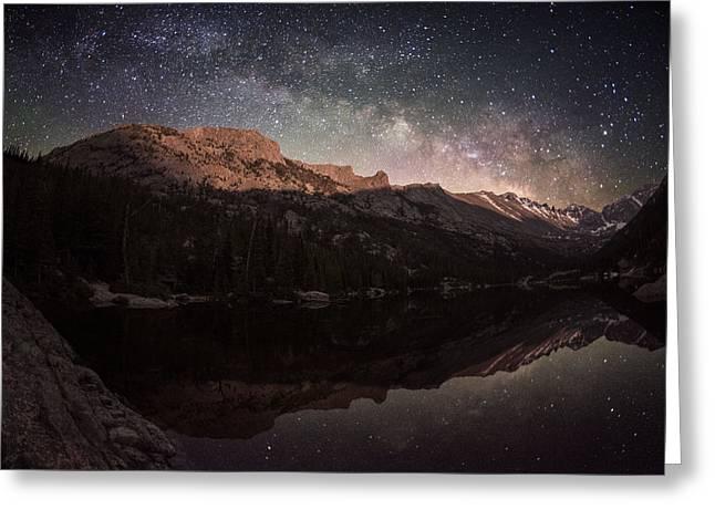 Milky Way Rising Over Longs Peak Greeting Card by Mike Berenson