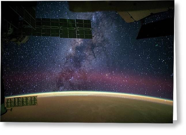 Milky Way Seen From The Iss Greeting Card
