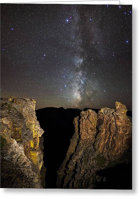 Milky Way Skies Over Rock Cut Greeting Card by Mike Berenson