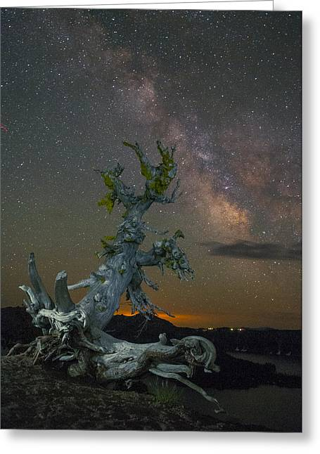 Milky Way Tree Greeting Card by Abe Blair