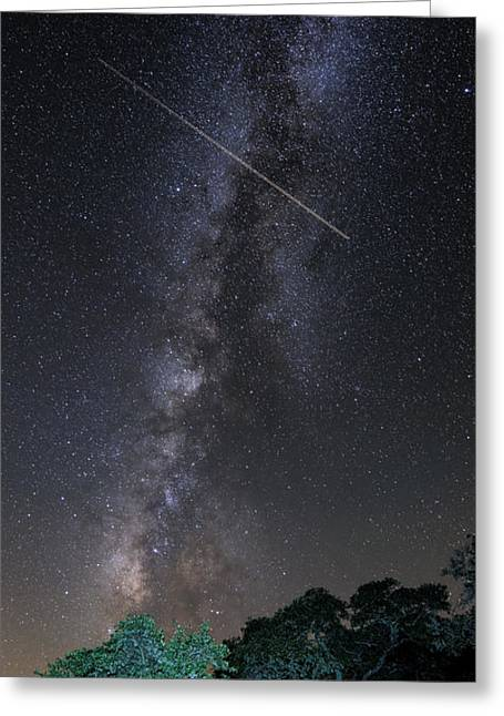 Milky Way Vertical Panorama At Enchanted Rock State Natural Area - Texas Hill Country Greeting Card