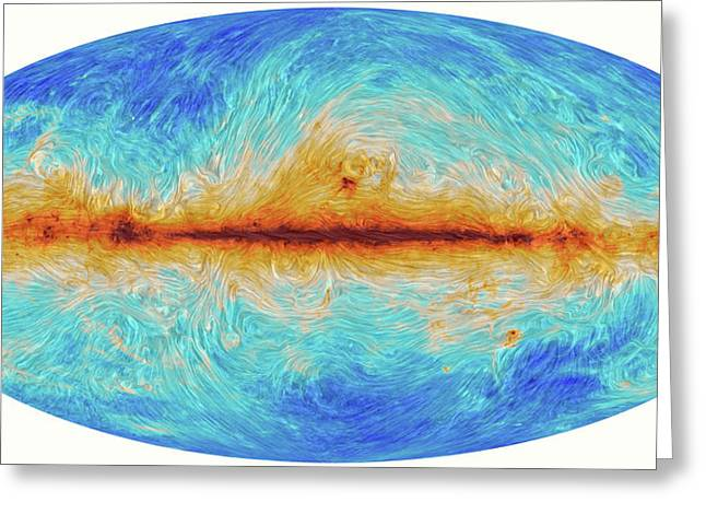 Milky Way's Magnetic Field Greeting Card by Planck Collaboration/esa