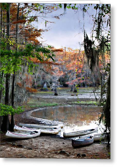 Greeting Card featuring the photograph Mill Pond Canoes by Lana Trussell