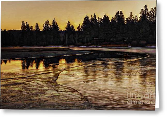 Mill Pond Freeze-d Greeting Card by Nancy Marie Ricketts