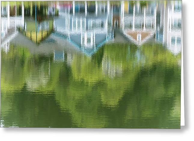 Mill Pond Reflects Extravagant Colour Greeting Card by Robert L. Potts