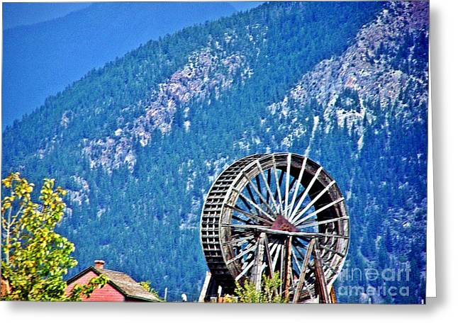 Mill Wheel In The Mountains Greeting Card