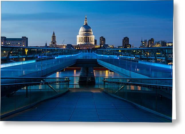Millenium Bridge Blue Hour II Greeting Card