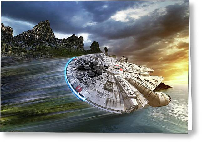 Millenium Falcon In Search Of Luke Greeting Card by Kurt Miller