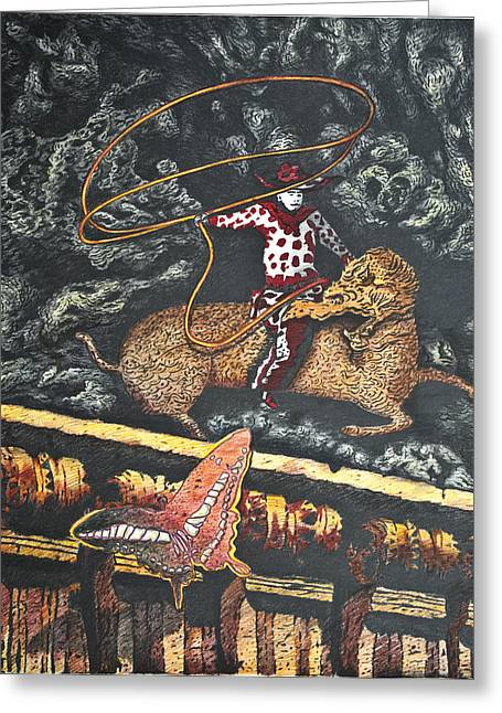 Millennium  Cowboy Greeting Card by Larry Butterworth
