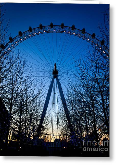 Greeting Card featuring the photograph Millennium Eye London At Twilight by Peta Thames