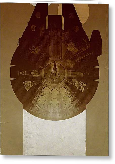 Millennium Falcon Greeting Card by Baltzgar