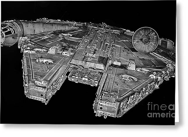 Millennium Falcon Greeting Card by Kevin Fortier