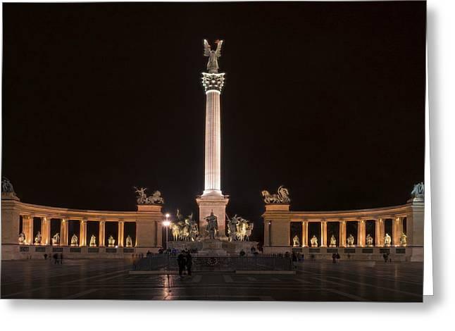 Millennium Monument Budapest Night Greeting Card