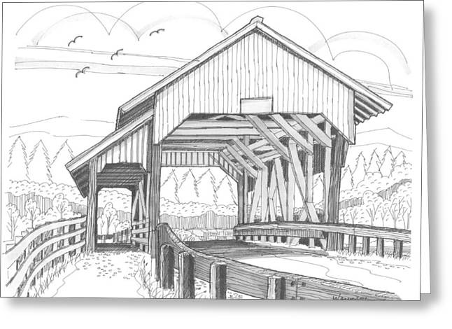 Miller's Run Covered Bridge Greeting Card by Richard Wambach