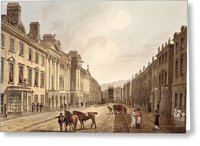 Milsom Street, From Bath Illustrated Greeting Card by John Claude Nattes