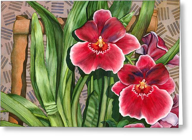 Miltonia Orchids Greeting Card by Lynda Hoffman-Snodgrass