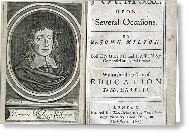 Miltons Poems, Title Page, 1673 Greeting Card by Folger Shakespeare Library