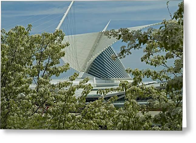 Milwaukee Art Museum Through Flowered Trees Greeting Card by Devinder Sangha