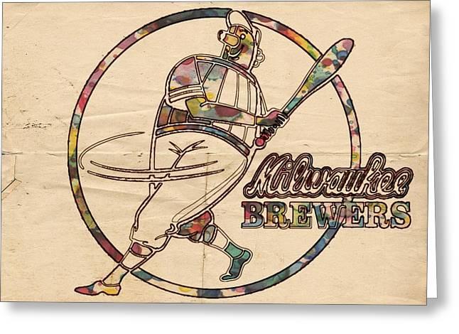 Milwaukee Brewers Vintage Art Greeting Card