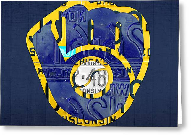 Milwaukee Brewers Vintage Baseball Team Logo Recycled Wisconsin License Plate Art Greeting Card
