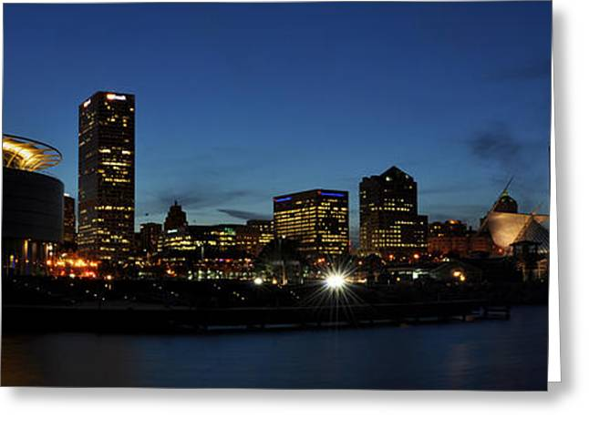Greeting Card featuring the photograph Milwaukee City Scape Panorama by Deborah Klubertanz
