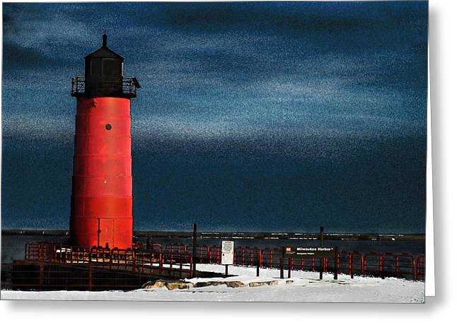 Milwaukee Pierhead Lighthouse Greeting Card by David Blank