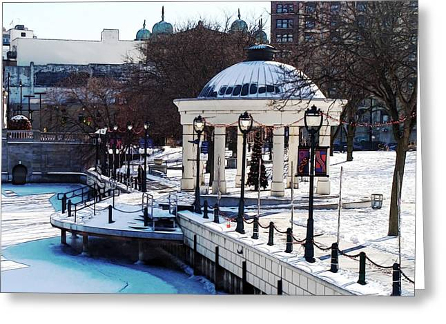 Milwaukee River Walk 3 - Pere Marquette Park - Winter 2013 Greeting Card by David Blank