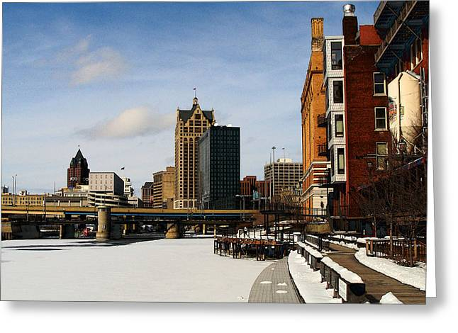 Milwaukee Riverwalk Greeting Card by David Blank