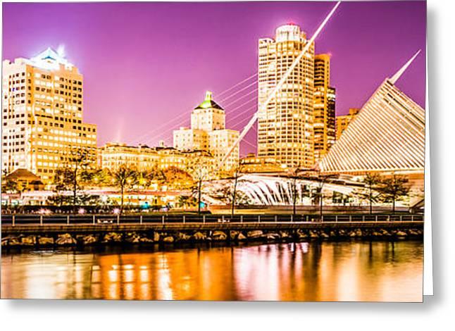 Milwaukee Skyline At Night Panoramic Picture Greeting Card by Paul Velgos